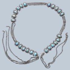 Ca 1900 Belt Turquoise Blue Art Glass Antique Silver Tone Metal