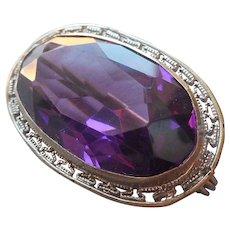 1910s Purple Glass Stone Pin Greek Key Filigree Antique Faux Amethyst