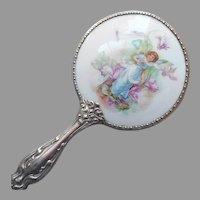 Child's Porcelain Hand Mirror Antique German Silver Fairy Cyclamen