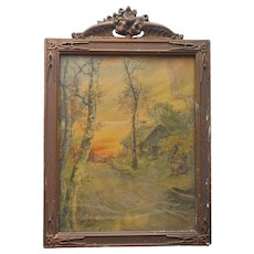 ca 1930 Wood Gesso Picture Print Frame Glass