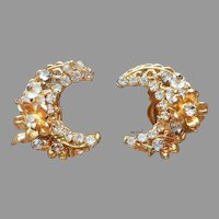 Robert Wired Rhinestones Glass  Beads Filigree Earrings Vintage Clip On Crescent