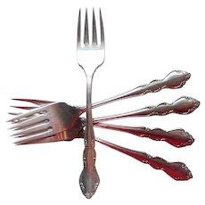 Oneida Dover Salad Forks 5 Stainless Steel Vintage