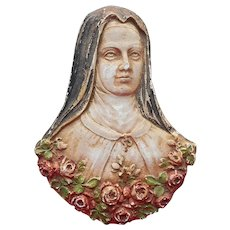Plaster Saint Theresa Therese Roses Creepy Vintage 1930s Catholic