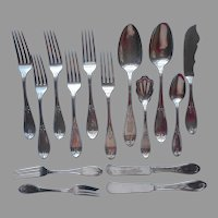 Victorian Olive Pattern 15 Antique Silver Plated Forks Knives Spoons Butter Pastry Sugar