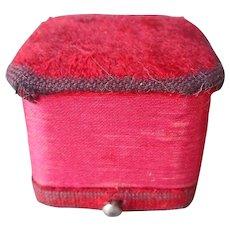 Antique Plush Ring Box Jeweler's Push Button Red Pink
