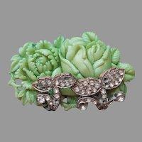 1930s Green Celluloid Metal Rhinestone Pin Peony Rose Vintage Kirschenbaum