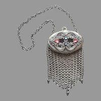 Edwardian Small Purse Jeweled Top Mesh Antique Chatelaine Style