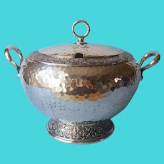 Meriden Tureen Antique Silver Plated Hammered Arts and Crafts
