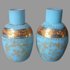 Pair Miniature Opaline Glass Vases Turquoise Blue Gold
