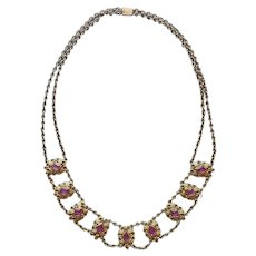 Edwardian Pink Glass Stones Necklace Swagged Chains Antique
