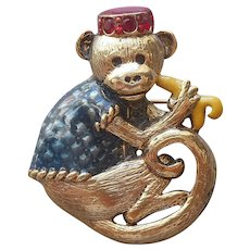 Danecraft Monkey Pin Enamel Bellhop Vintage Figural Organ Grinder