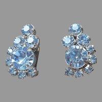 Light Blue Rhinestone Clip On Earrings Vintage 1950s Silver Tone