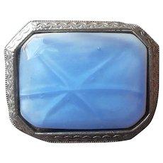 ca 1920 Glass Pin Sky Blue Star Sapphire Effect Antique Silver Tone