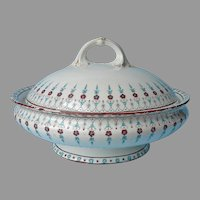 Crown Derby Drop Pattern Covered Serving Bowl Antique Turquoise Brown Porcelain