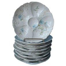 Set 8 Oyster Plates Austria Antique Porcelain Blue Cornflowers