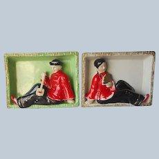 Pair Ceramic Plaques Shadowbox Chinese Man Woman Vintage