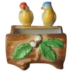 Planter Birds Hand Painted Japan Vintage Goldcastle Parakeets Ceramic