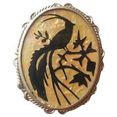 1920s Celluloid Pin Silhouette Bird Of Paradise Vintage Black Opalescent