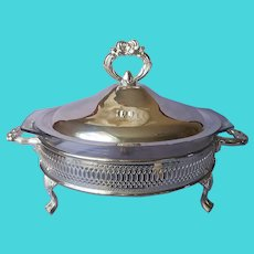Silver Plated Frame Lid 2 Qt Casserole 9 Inch Dish Pie Plate Holder Vintage
