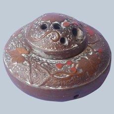 1920s Bizen Ware Japan Incense Burner Pottery Vintage Orange Brown
