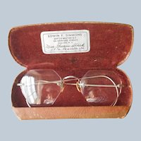 1940s White Gold Filled Eyeglasses Rimless Vintage Ornate Decoration