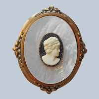 Victorian Revival Cameo Pin Vintage Large Mother Of Pearl Black White
