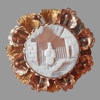 Late Victorian Cameo Pin Ornate Flowers Rim Antique A Bit TLC
