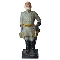 Cast Iron Robert E. Lee Bookend Doorstop Vintage Painted