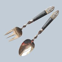 Thai Bronze Horn Pair Servers Spoon Fork Salad Serving Vintage