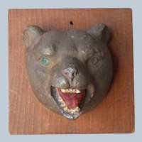 Black Forest Style Bear Head Plaque Wood Product Composition Vintage