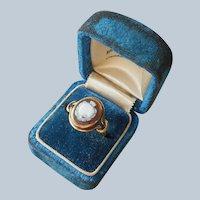 Sacred Heart Cameo Hardstone 10K Gold Ring Antique TLC