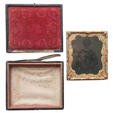Ambrotype 1864 Tax Stamps Signed In Case Woman and Child