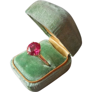 Antique Solitaire Synthetic Ruby 10K Gold Ring Size 9.5 Hot Pink