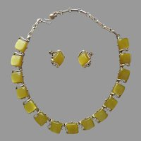 Coro Moonglow Thermoset Squares Necklace Clip On Earrings Vintage Moss Green