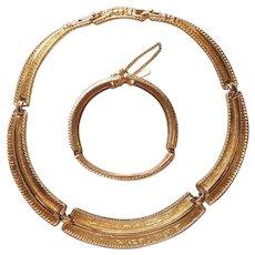 1980s Monet Hinged Necklace Double Clasps Bracelet Set Vintage