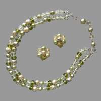 1960s All Glass Necklace Clip On Earrings Faux Baroque Pearls Moss Green Vintage