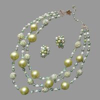Vendome Set Necklace Clip Earrings Light Green All Glass Vintage