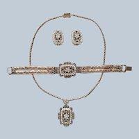 1950 Sarah Coventry Queen Victoria Set Necklace Earrings Bracelet Vintage