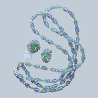 Vendome Necklace Earrings Striped Blue Green Glass Tag Vintage Silver