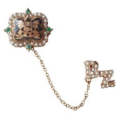 Phi Mu 10K Gold Enamel Seed Pearls Green Stones Pin Sorority Vintage