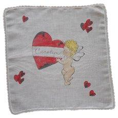 Carolyn On Valentine's Day Hankie Vintage Handkerchief Hand Printed