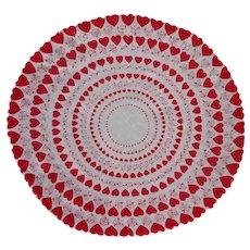 Round Valentine's Day Hankie Handkerchief Vintage Cotton Printed