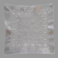 Drawn Work Hankie Handkerchief Vintage Linen