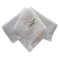 White Bleeding Hearts Hankie Handkerchief Vintage Hand Embroidered