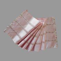 Opera Scarf Pink Satin Fishes Weave Stripes Vintage