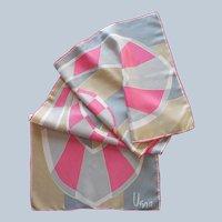 Vera Neumann Scarf 45 x 15 Pink Gray Taupe Silk Blend Vintage