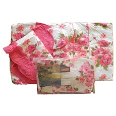 1960s In Package Pink Print Double Bedspread Curtains Sham Vintage