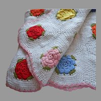 Vintage Afghan Crocheted Bright Colored 3D Flowers White Pink Edge