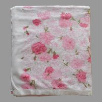 Cotton Blanket Printed Fieldcrest Vintage ca 1970 Pink Carnations