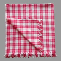 Deep Pink Cotton Check Narrow Tablecloth Vintage 73 x 35